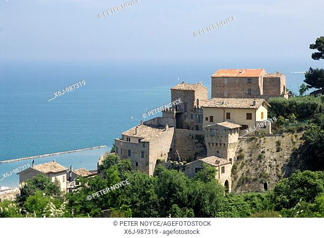 Houses on the hillside above Grottammare in Le Marche looking out over the adriatic