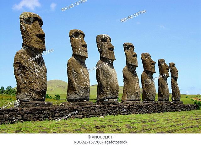 Moai sculptures Hanga Roa Rapa Nui Easter Island Chile