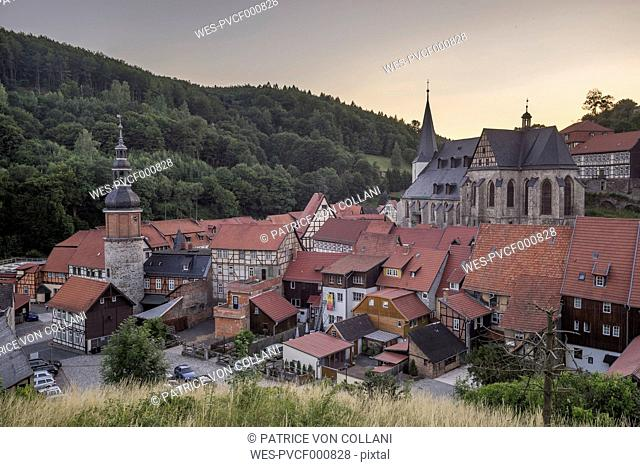 Germany, Saxony-Anhalt, Stolberg, View of the village and Stolberg Castle