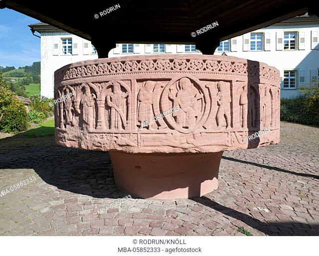 Germany, Baden-Wurttemberg, Bollschweil, St. Ulrich, educational house Cloister piece Ulrich, cluniazensischer place, font Romanesque well peel 11