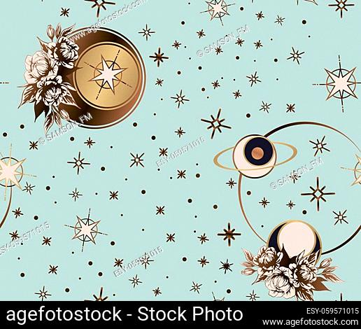 Star space galaxy constellation print. Seamless pattern is used for textile, zodiac star yoga mat, phone case, astrology