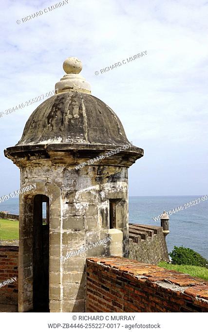 Fort San Felipe del Morro (1539) Guerite Garita (Sentry Box) Walls and Atlantic Ocean-Old San Juan, Puerto Rico