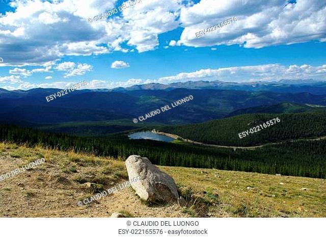 Rock, Echo Lake and Rocky Mountains, Colorado