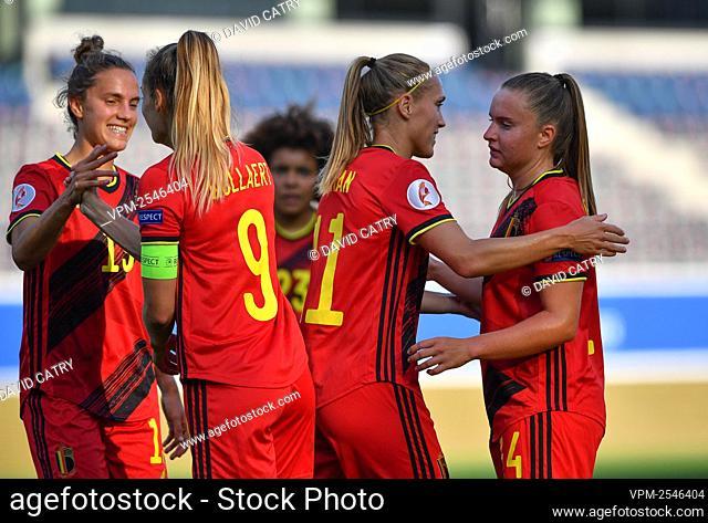 belgian players celebrate after scoring during with Belgium's Janice Cayman, Belgium's Davinia Vanmechelen, Belgium's Chloe Vande Velde and Belgium's Tessa...