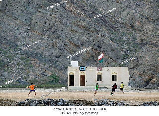 OMAN-Gulf of Oman-Yiti: Town Building and Soccer (Football) Field