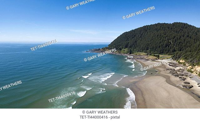 USA, Oregon, Headland, Aerial view of beach