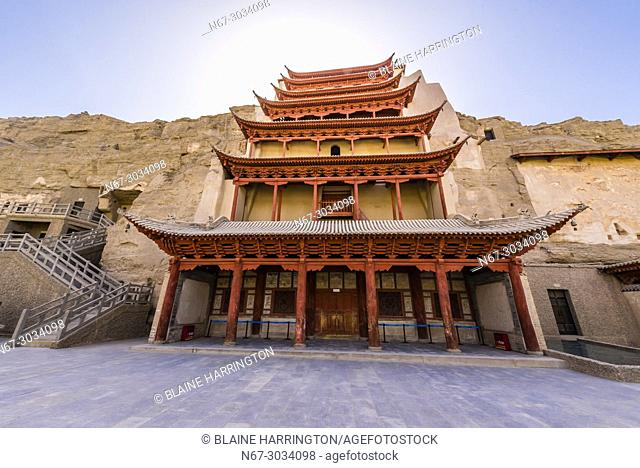 The Mogao Caves are a complex of 492 grottoes adorned with Buddhist statuary and frescoes, created between the 4th and 14th centuries