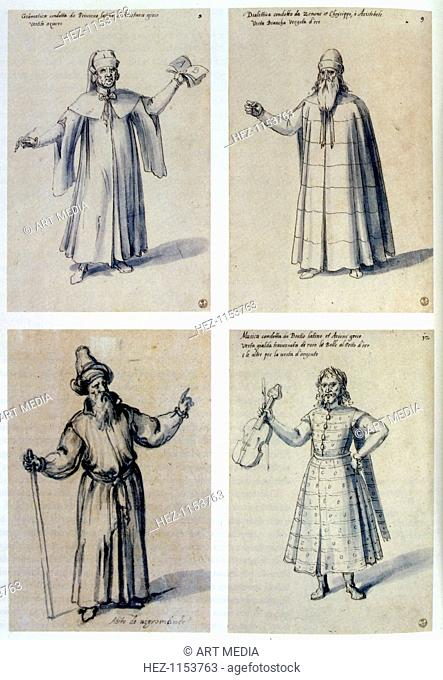 Costume design for classical figures, 16th century. Top left: Aristarchos of Samothrace (c217-145 BC), Greek grammarian and last recorded librarian of the Great...