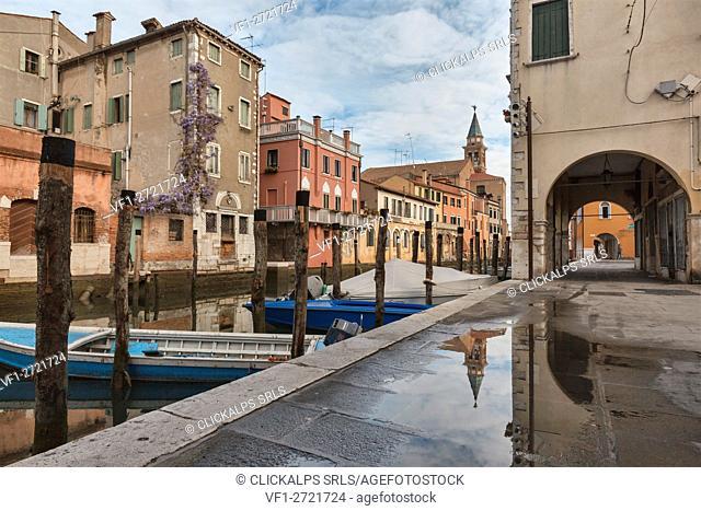 Europe, Italy, Veneto, Chioggia. View of the Fondamenta Canal Vena