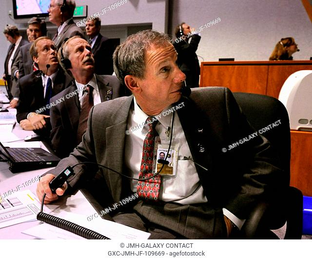 NASA Administrator Michael Griffin watches the launch of the Space Shuttle Endeavour (STS-126) from the Launch Control Center Friday, November 14, 2008
