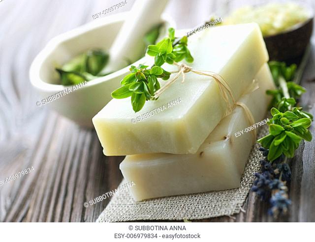 Natural Handmade Soap With Herbs. Spa