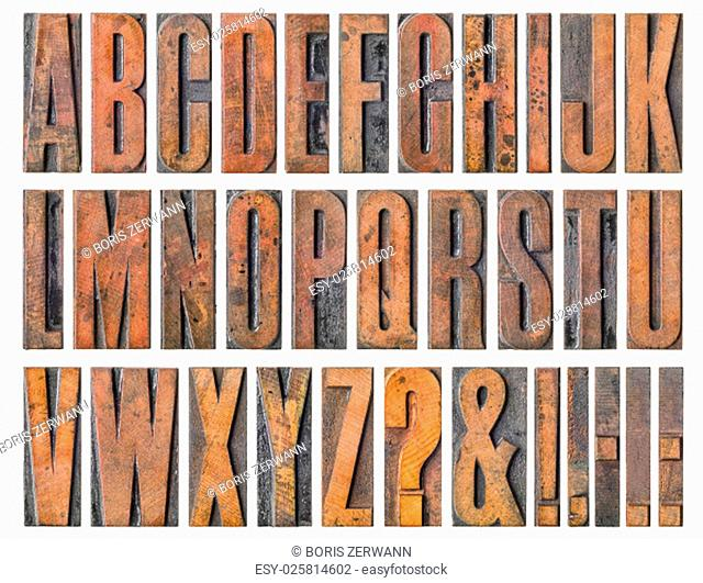 old wooden letters - alphabet