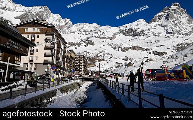 CERVINIA, ITALY JANUARY 22, 2019: Breuil-Cervinia alpine resort at the foot of the Matterhorn, Aosta Valley, Italy