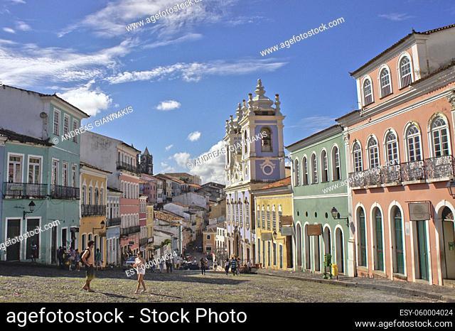 Salvador de Bahia, Pelourinho view with colorful buildings, Brazil, South America