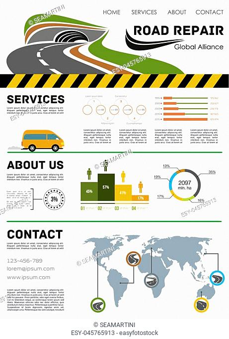 Road repair and construction landing page. Vector template for highway and motorway service or building company with infographic chart diagrams and flowchart...