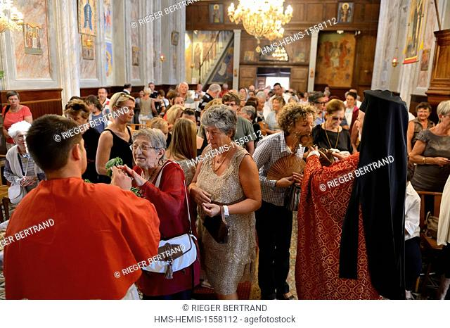 France, Corse du Sud, Cargese, Greek catholic church of Saint Spyridon (Eastern rite or Uniate), mass of the basil feast (Exaltation of the Holy Cross)