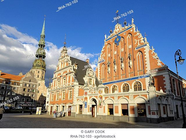 House of the Blackheads Melngalvju Nams, Town Hall Square Ratslaukums, Riga, Latvia, Baltic States, Europe