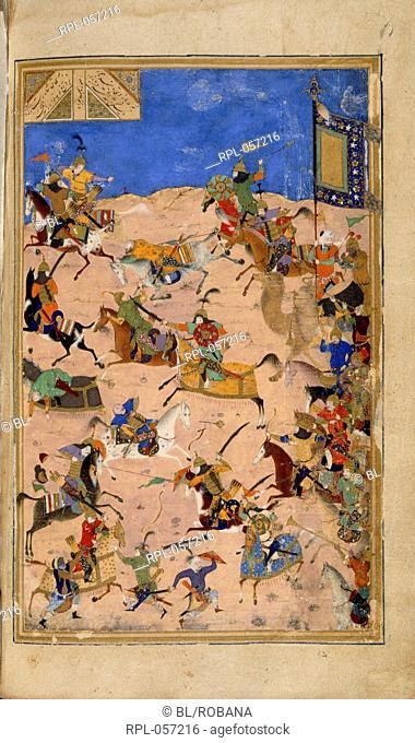 Battle between Iskandar and Dara. A miniature painting from a fifteenth century manuscript of Nizami's Khamsa 'Five Poems'. Image taken from Khamsa