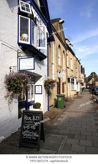 Shops along High Street Woodstock Oxfordshire