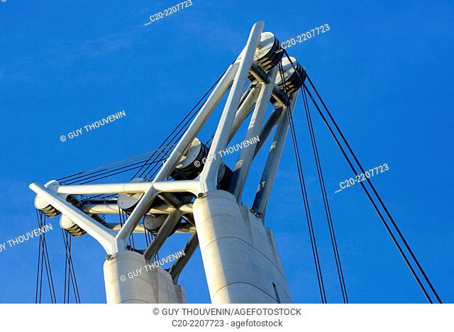 Flaubert bridge (detail), Rouen Commerce Harbour, River Seine, Rouen, Upper Normandy, 76000, France