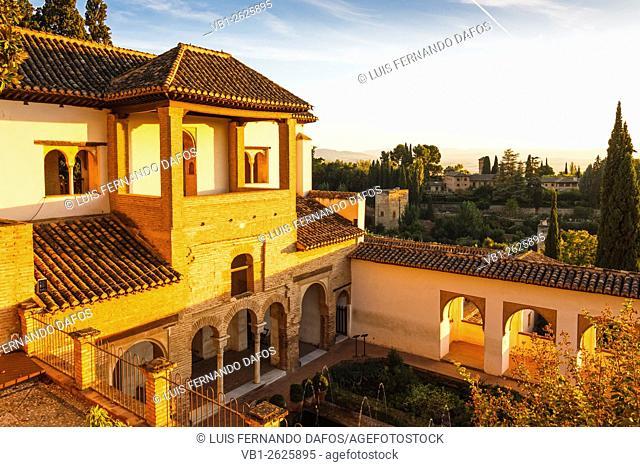 Generalife palace at sunset. Alhambra, Granada, Spain