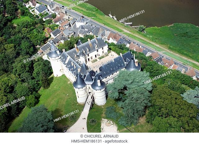 France, Loir et Cher, Chaumont sur Loire, Chateau de Chaumont on Loire river banks aerial view