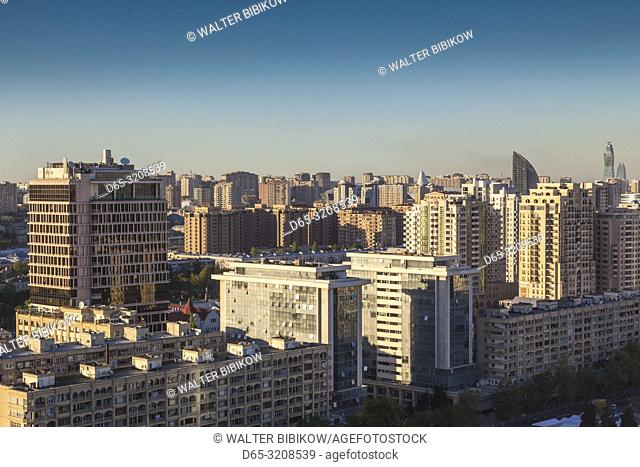 Azerbaijan, Baku, high angle skyline of central Baku, dusk