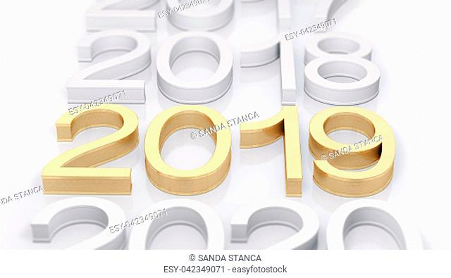 3D Gold Metal 2019 on white Background. Three-dimensional rendering. Focus on 2019 golden text