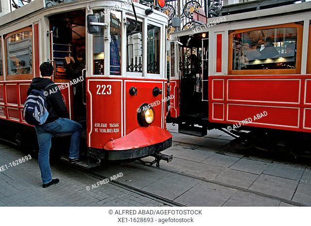 trams, Istiklal Caddesi, Istanbul, Turkey