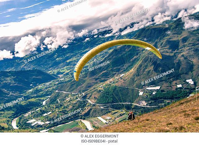 Person paragliding, Paute, Azuay, Ecuador