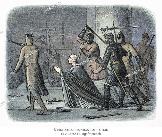 Murder of Thomas Becket, Canterbury Cathedral, Kent, 1170 (1864). Archbishop of Canterbury from 1162, Becket (1120-1170) clashed almost incessantly with King...