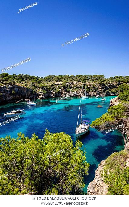 yachts anchored, Cala Pi, Llucmajor, Migjorn region. Mallorca. Balearic Islands. Spain