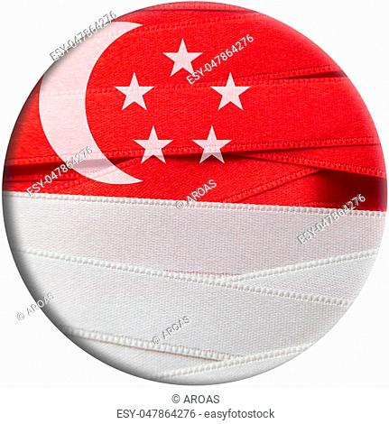 Singapore flag or banner made with red and white ribbons