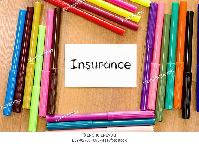 Insurance text concept over note background