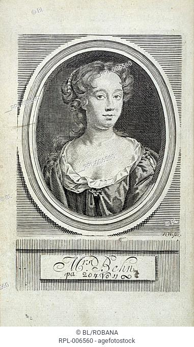 Aphra Behn 1640-1689. English writer. Portrait. Image taken from Poems upon several occasions with a voyage to the island of Love