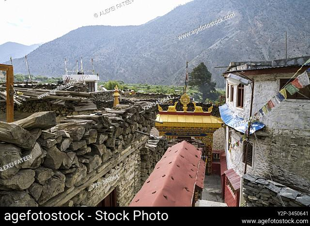 Buddhist monastery in Marpha, a small village in Mustang district of Nepal