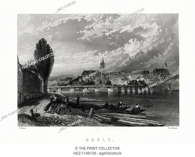 'Basle', Switzerland, 1883. Fishing boats on the Rhine, with the city of Basel in the background