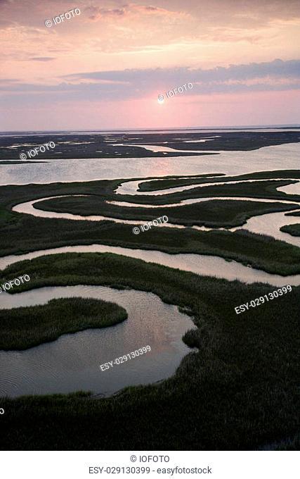Aerial scenic Bald Head Island North Carolina landscape of marshland during sunrise