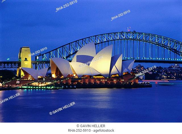 Opera House and Sydney Harbour Bridge, Sydney, New South Wales, Australia