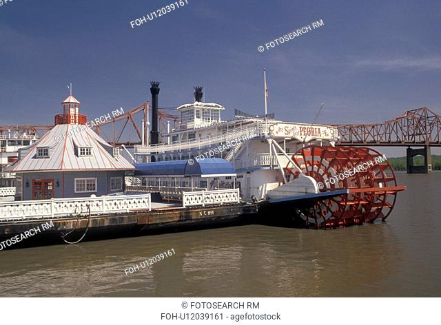 riverboat, Illinois River, Peoria, IL, Illinois, Riverboat docked at Riverfront Park along the Illinois River in Peoria
