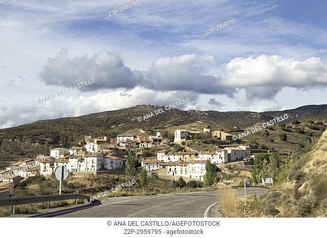 Nogueruelas village in Gudar mountains Teruel, Aragon, Spain