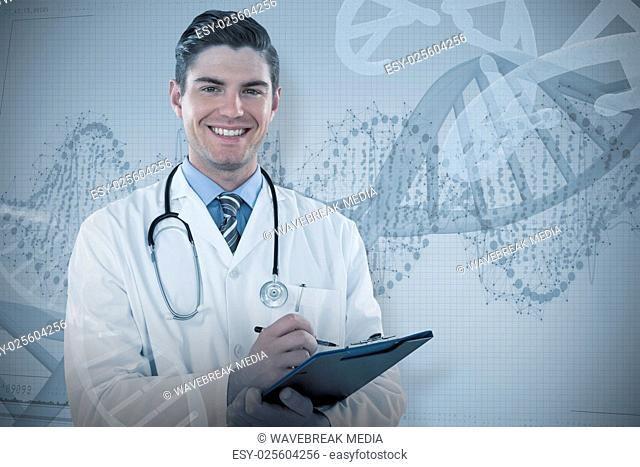 Composite image of portrait smiling doctor writing on clipboard