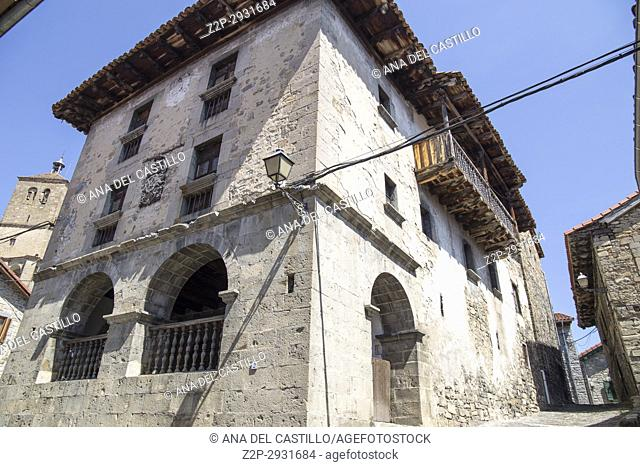 Old architecture in Roncal village Roncal valley in Navarre Spain Palace with coat of arms