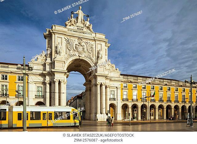 Morning at Rua Augusta triumphal arch in Lisbon, Portugal