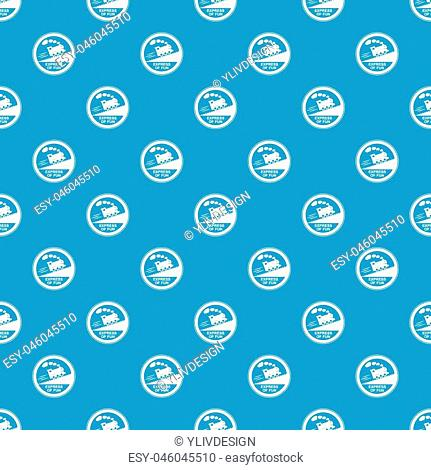 Train journey sign pattern vector seamless blue repeat for any use