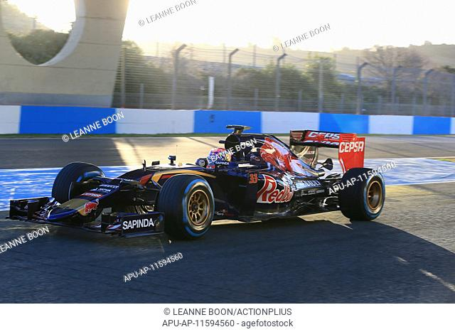 2015 Formula 1 Winter Testing Day 4 Jerez Feb 4th. Max Verstappen in the Scuderia Toro Rosso takes the wheel on the final day of the Jerez test