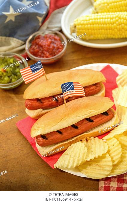Hot dogs with American flag toothpicks