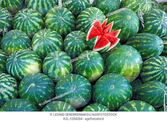 Watermelons dislayed on Tuesday Market in Fethiye  Province of Mugla, Turkey