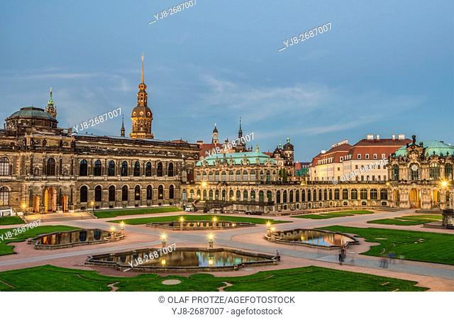 Dresden Zwinger Palace at Night, Dresden, Saxony, Germany