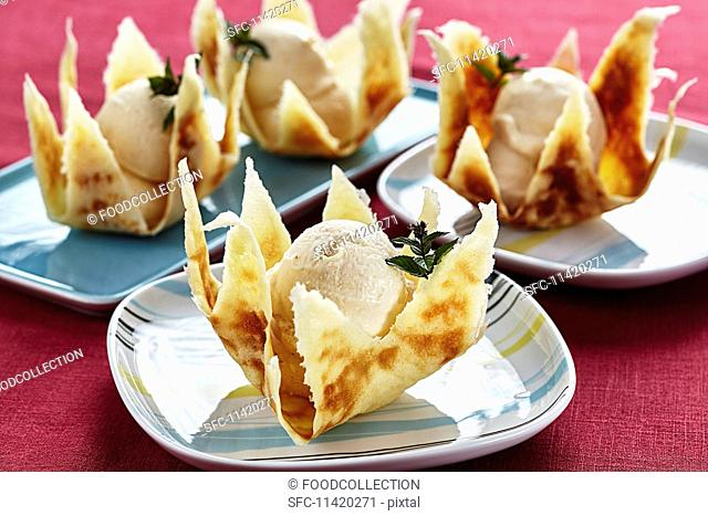 Baked apple ice cream in a wafer basket